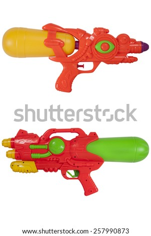 Water spray gun for playing and watering to each other in hot season isolate on white - stock photo