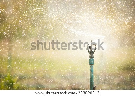 Water sprinkler irrigation of agricultural field - stock photo