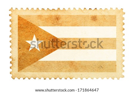 Water stain mark of Cuba flag on an old retro brown paper postage stamp.  - stock photo