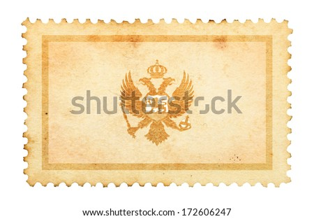 Water stain mark of Montenegro flag on an old retro brown paper postage stamp.  - stock photo