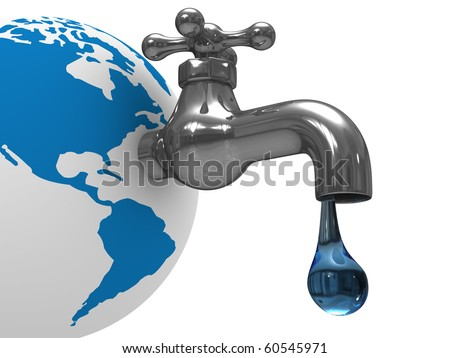 Water stocks on earth. Isolated 3D image - stock photo