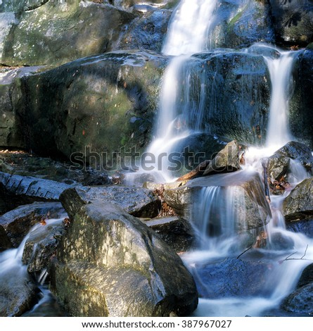 Water stream flows in the Appalachian Mountains - stock photo