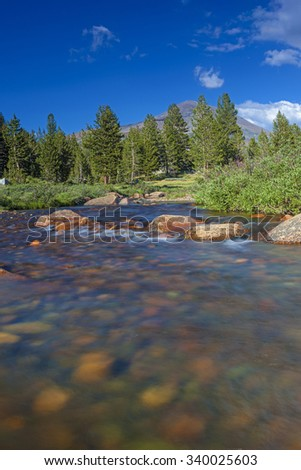 Water Streams In Unique Yosemite National Park in California, United States. Vertical Image Orientation - stock photo