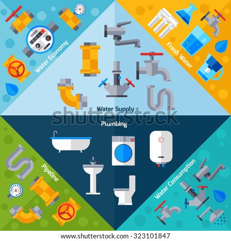 Water supply corners set with plumbing pipeline and bathroom accessories isolated  illustration - stock photo