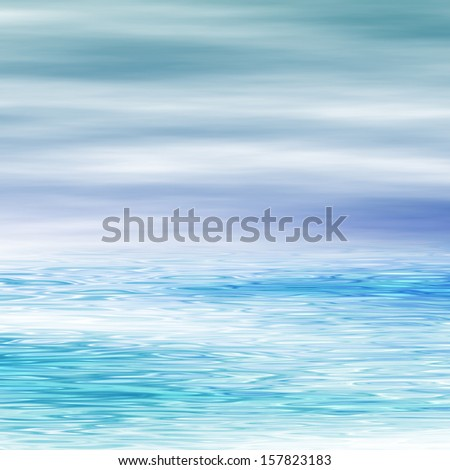 Water surface and cloudy sky, digitally rendered seascape. - stock photo