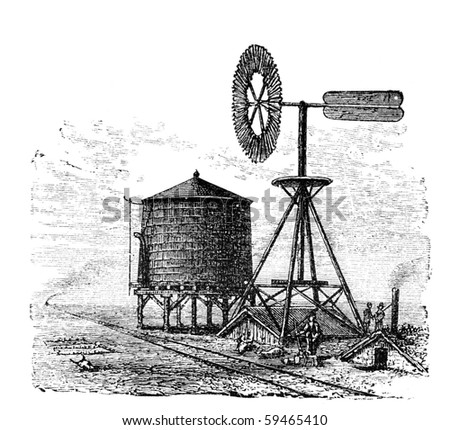 "Water tank and windmill on prairie. Illustration originally published in Ernst von Hesse-Wartegg's ""Nord Amerika"", swedish edition published in 1880. - stock photo"