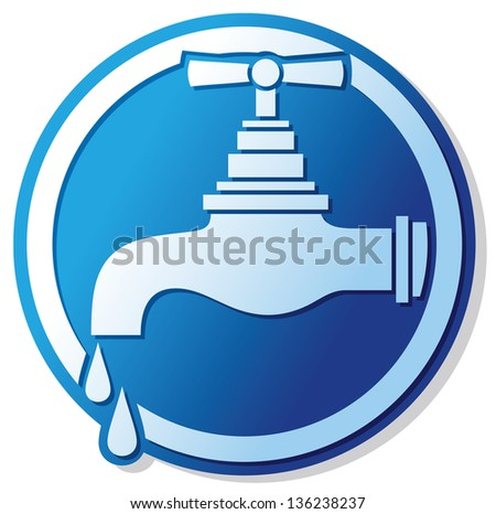 water tap symbol (water faucet sign, dripping tap icon, faucet tap with water drop) - stock photo