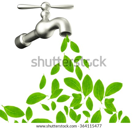 water tap with green leafs drop - eco sign - stock photo