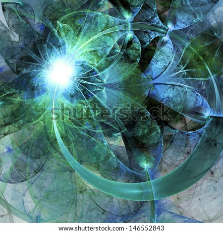 Water-themed fractal stained glass pattern, digital artwork for creative graphic design - stock photo