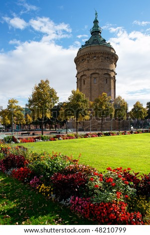 Water tower in Mannheim, Germany. - stock photo
