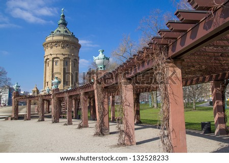 Water tower on Friedrich square in Mannheim, Germany - stock photo