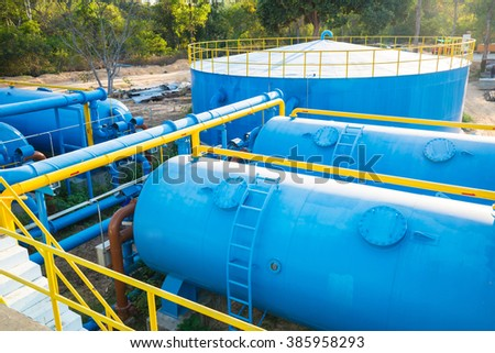 Water treatment plants of the Waterworks in Thailand. - stock photo