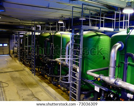 water treatment tanks on power plant - stock photo