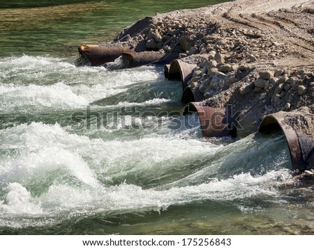 water tube at a river - stock photo