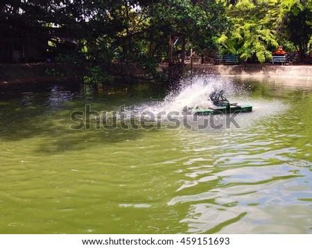 Water turbines, water treatment - stock photo