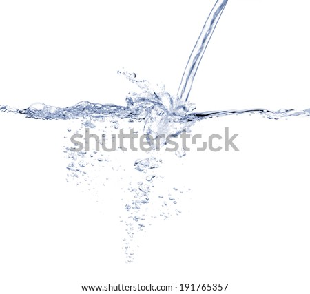 Water turbulence against white background - stock photo