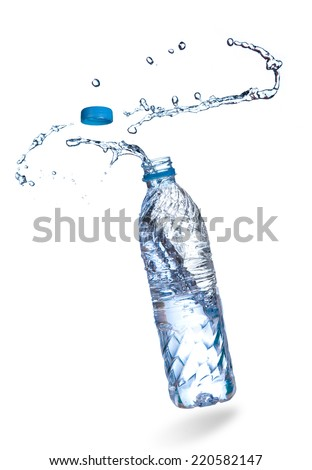 Water up from a plastic bottle - stock photo