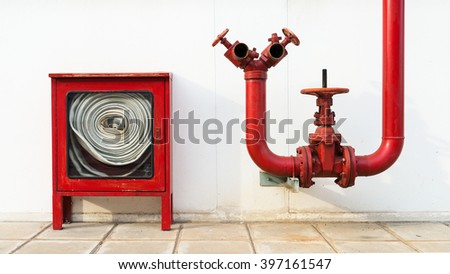 Water valve Fire with Fire hose cabinet - stock photo