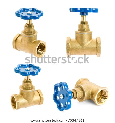 Water valve isolated on white background - stock photo