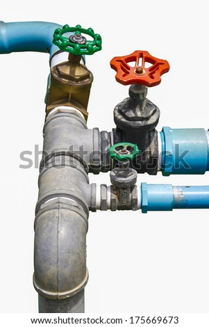 water valve with separate supply pipes with brass, joint of metal pipeline with Plumbing PVC - stock photo