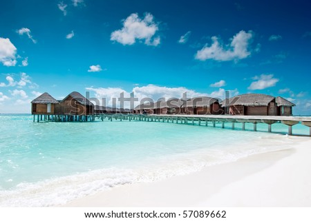 Water village in the Maldives islands - stock photo
