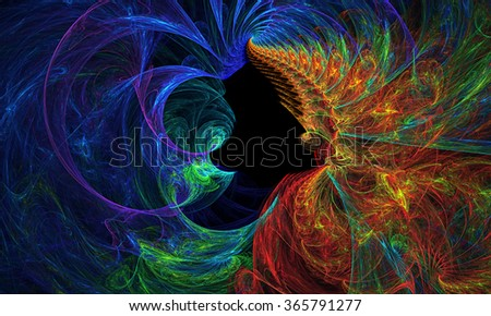 Water vs Fire abstract illustration - stock photo