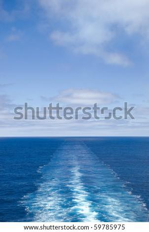 Water wake of cruise liner - stock photo