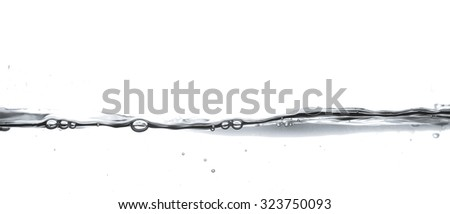 Water wave isolated on white background - stock photo
