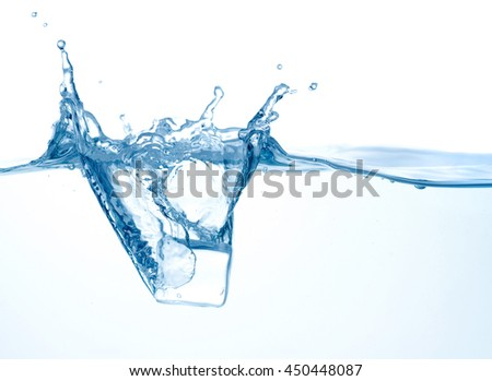 Water wave with ice splash - stock photo