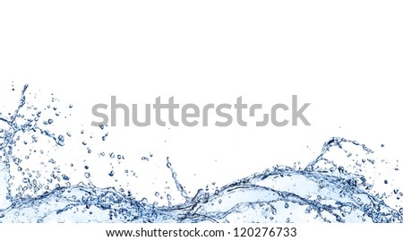 Water waves isolated on white background - stock photo