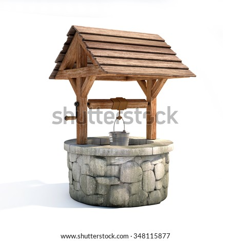 water well 3d illustration - stock photo
