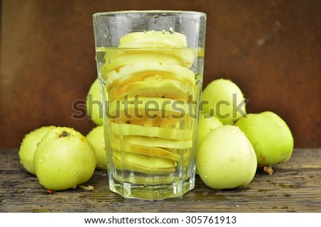 water with apple drink - stock photo