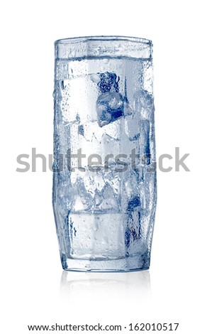 Water with ice cubes. Isolated on white. With clipping path - stock photo