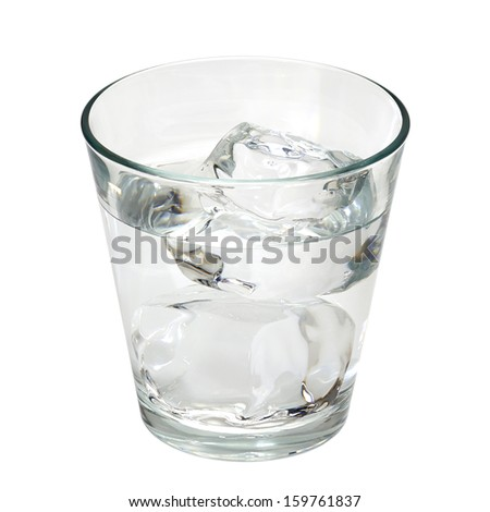 Water with ice in glass including clipping path - stock photo