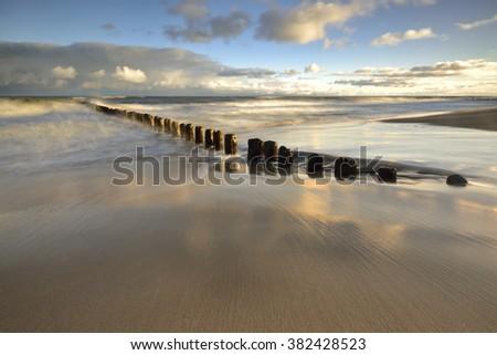 Waterbreak on the Baltic sea, Europe - stock photo