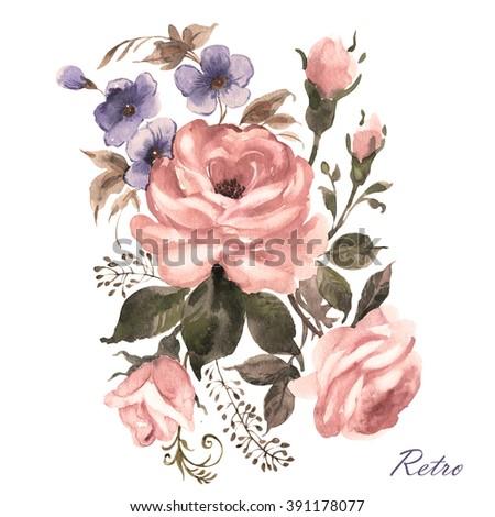 Watercolor a bouquet of flowers-1.Vintage, retro. - stock photo