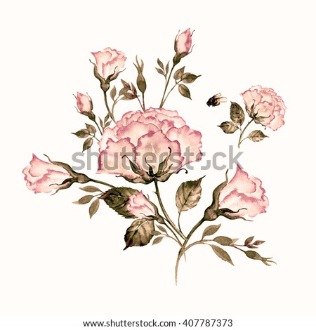 Watercolor a bouquet of roses and a bumblebee-1. Vintage, retro. - stock photo