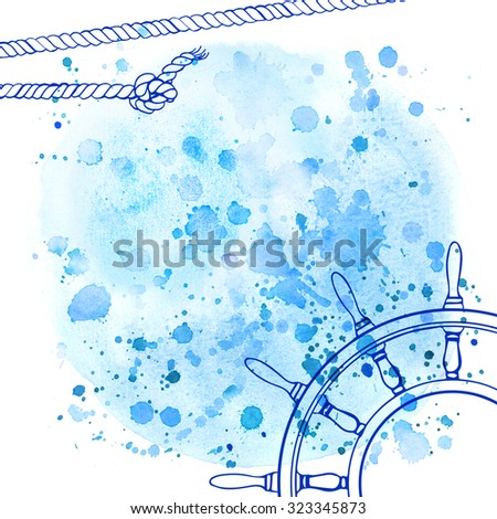 Watercolor abstract background in marine style. Drawing the line on the spot of blue paint. Ropes, knots, spray paint. Blue background, outlined with a steering wheel - stock photo