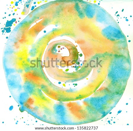 Watercolor Abstract Blot   Round - stock photo