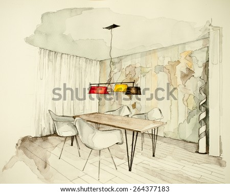 Watercolor and ink freehand sketch drawing of apartment flat dining room, symbolizing artistic custom unique boutique approach to real estate business branch and personal interior design process - stock photo