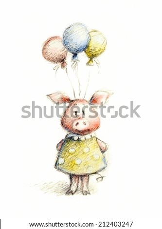 watercolor and pencil drawing of pig with balloons - stock photo