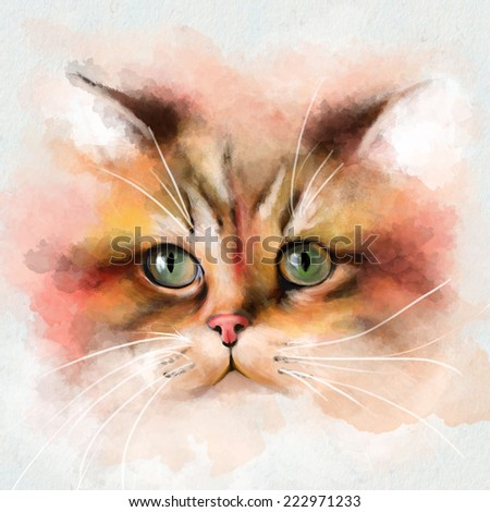Watercolor Animal Collection: Cat - stock photo