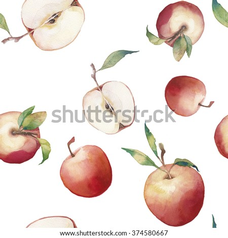 Watercolor apple seamless pattern. Hand drawn texture with whole and ripe apples with green leaves on white background. Artistic natural food wallpaper - stock photo