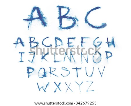 Watercolor aquarelle font type handwritten hand drawn doodle abc alphabet uppercase letters. - stock photo