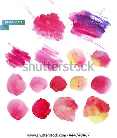 Watercolor artistic abstract paint drops collection isolated on white background. Hand drawn decor colorful elements set. Brush stroke. Ink drawing. Paint splashes. Logo backdrop design template. - stock photo