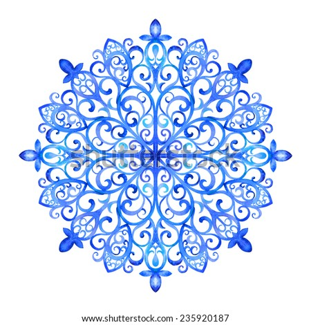Watercolor artwork with a snowflake. Hand drawn raster illustration/ - stock photo