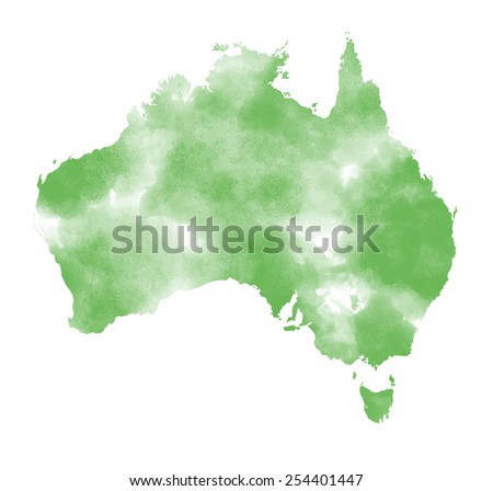 Watercolor Australia map on white background - stock photo