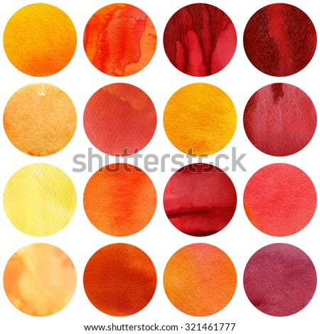 Watercolor autumn circles collection in yellow and red colors. Watercolor stains set isolated on white background. Watercolour palette. Seamless retro geometric pattern, wrapping paper. - stock photo