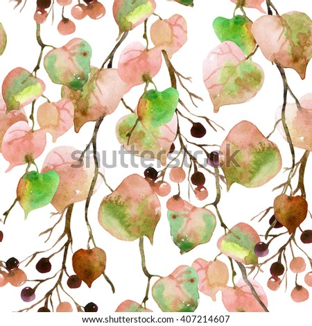 Watercolor autumn leaves, branches and berry seamless pattern. Linden leaves and berries branches seamless pattern on white background. Hand painted autumn garden illustration  - stock photo