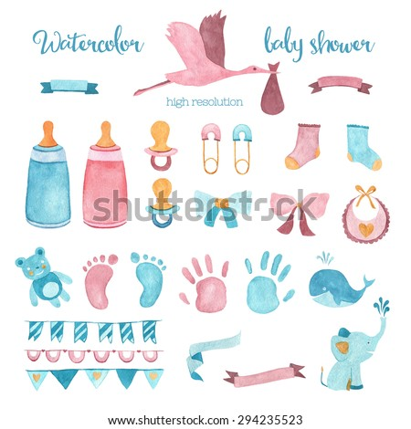 Watercolor baby shower set of design elements in high resolution. - stock photo